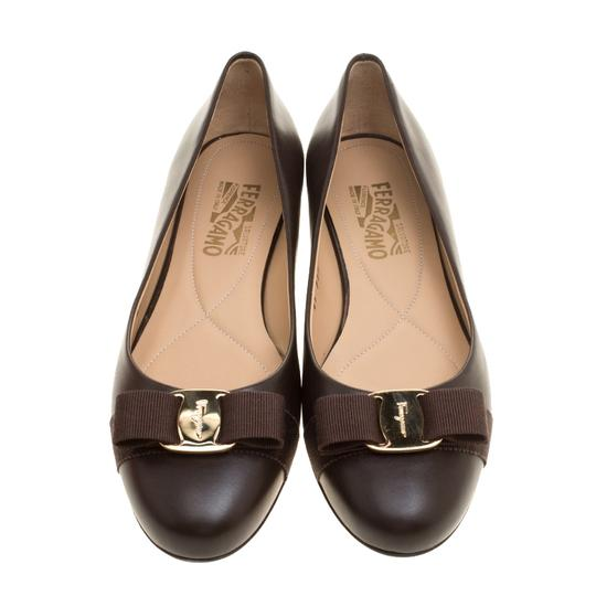 Salvatore Ferragamo Leather Ballet Brown Flats Image 1