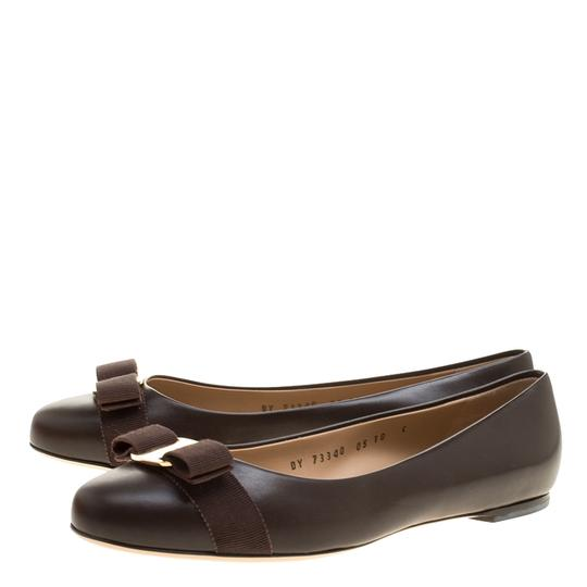 Salvatore Ferragamo Leather Ballet Brown Flats Image 4