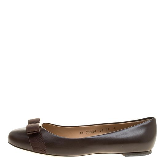 Salvatore Ferragamo Leather Ballet Brown Flats Image 5