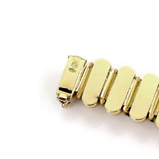 Other Estate 3.5ct Diamond 18k Yellow Gold Textured Curved Bar Link Bracelet Image 4