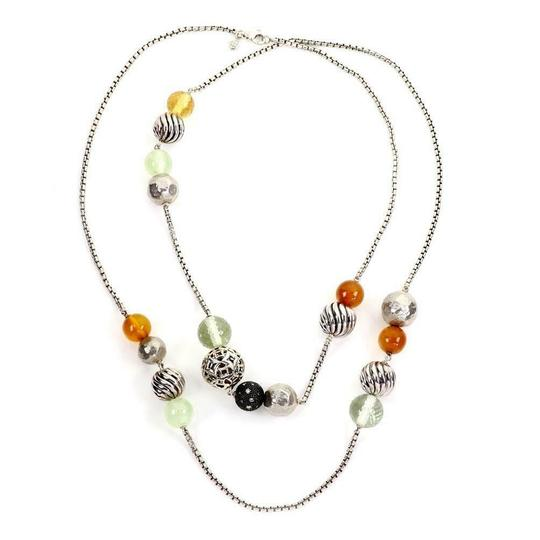 David Yurman Elements 925 Silver & Gems Beaded Chain Necklace Paper 41