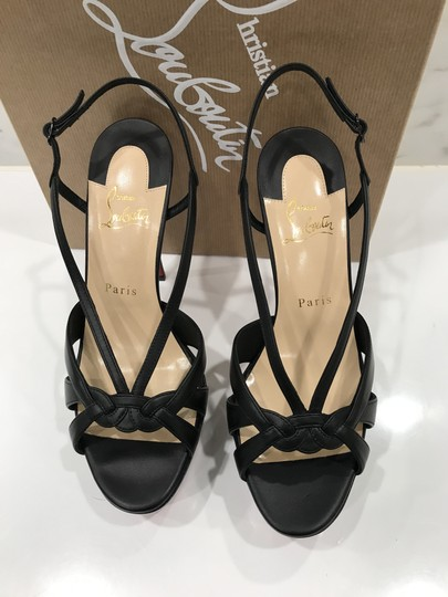 Christian Louboutin Open Toe Slingback Buckle Closure Calf Leather black Platforms Image 4