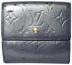 Louis Vuitton LV gray vernis leather snap button wallet