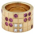 Cartier Lanieres Diamond & Sapphire 18k YGold Wide Band Ring Size 46 Paper Image 0