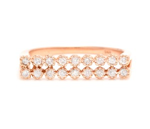 Other 0.25 Carats Natural Diamond 14K Solid Rose Gold Band Ring