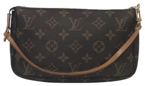 Louis Vuitton Lv Pochette Pochette Accessories Monogram Pouch Wristlet in Brown