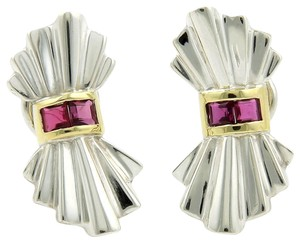 Tiffany & Co. Vintage Rubies 925 Silver & 18k Yellow Gold Bow Clip Earrings