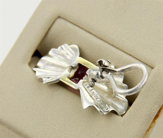 Tiffany & Co. Vintage Rubies 925 Silver & 18k Yellow Gold Bow Clip Earrings Image 1