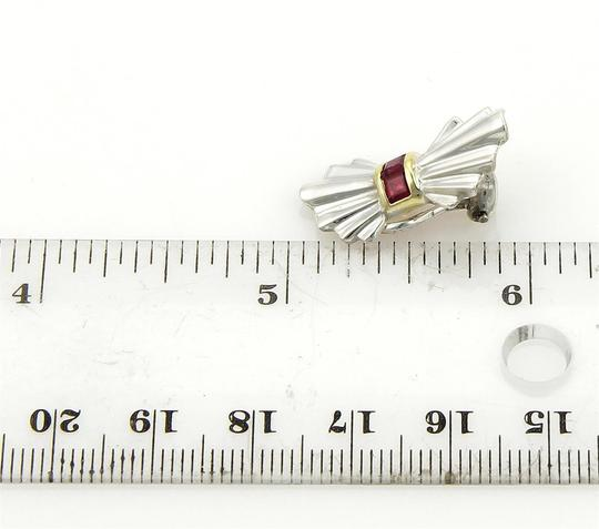 Tiffany & Co. Vintage Rubies 925 Silver & 18k Yellow Gold Bow Clip Earrings Image 3