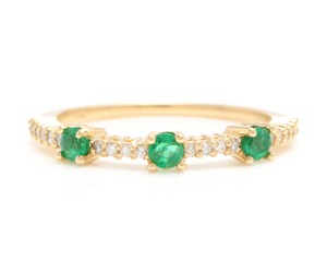 Other Superb Natural Emerald & Diamond 14K Solid Yellow Gold Ring