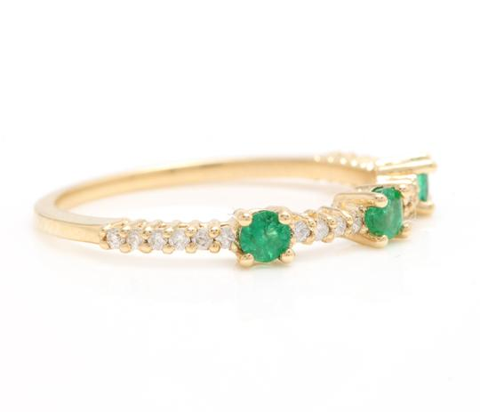 Other Superb Natural Emerald & Diamond 14K Solid Yellow Gold Ring Image 1