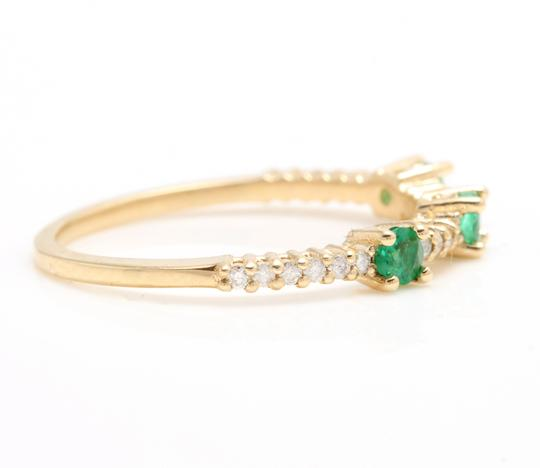 Other Superb Natural Emerald & Diamond 14K Solid Yellow Gold Ring Image 2