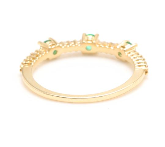 Other Superb Natural Emerald & Diamond 14K Solid Yellow Gold Ring Image 3