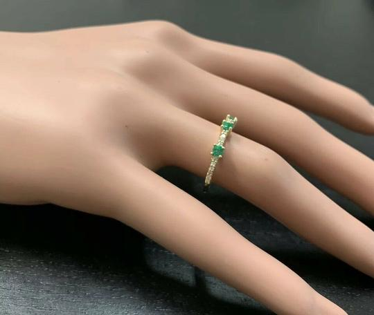 Other Superb Natural Emerald & Diamond 14K Solid Yellow Gold Ring Image 6