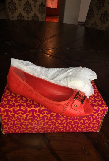 Tory Burch scarlet red (more like orange) Flats Image 5