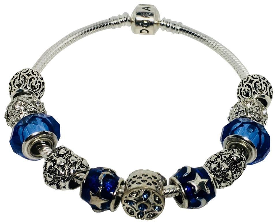 5857390bfa66f PANDORA Dark Blue I Love You To The Moon and Back Charm with European  Silver Charms Bracelet