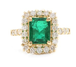 Other 4.10Ct Natural Emerald & Diamond 18K Solid Yellow Gold Ring