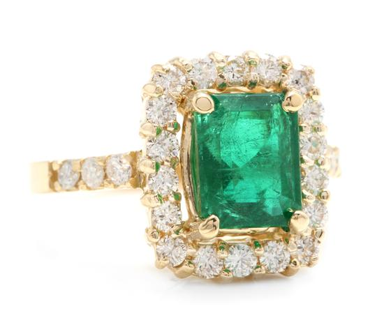 Other 4.10Ct Natural Emerald & Diamond 18K Solid Yellow Gold Ring Image 1