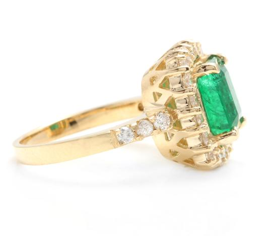 Other 4.10Ct Natural Emerald & Diamond 18K Solid Yellow Gold Ring Image 2