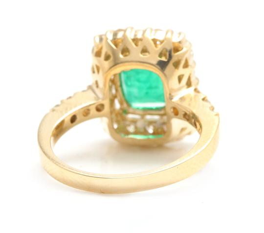Other 4.10Ct Natural Emerald & Diamond 18K Solid Yellow Gold Ring Image 3