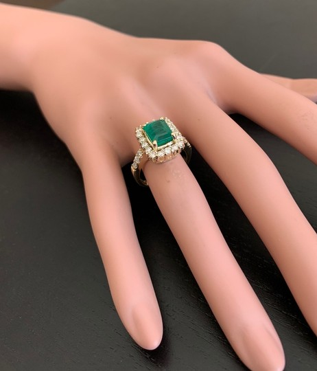 Other 4.10Ct Natural Emerald & Diamond 18K Solid Yellow Gold Ring Image 5