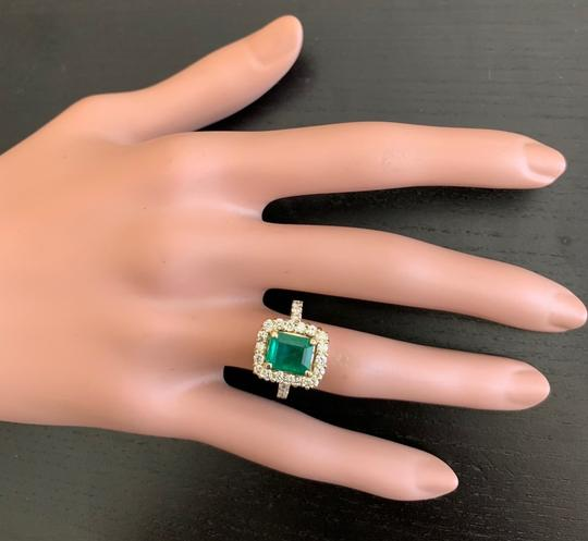 Other 4.10Ct Natural Emerald & Diamond 18K Solid Yellow Gold Ring Image 6