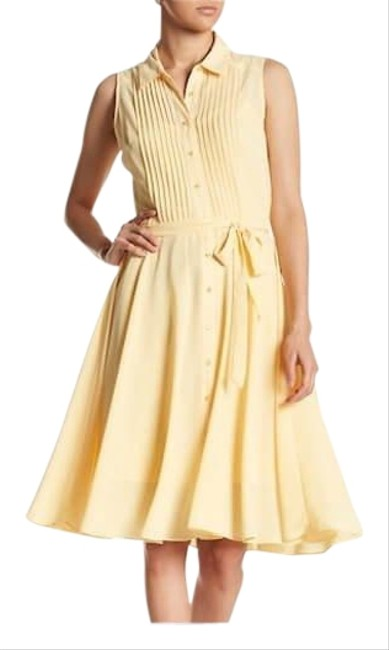 Preload https://img-static.tradesy.com/item/25768538/nanette-lepore-pale-duff-yellow-sleeveless-pleated-upper-mid-length-workoffice-dress-size-8-m-0-2-650-650.jpg