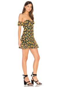 For Love & Lemons Floral Applique Strapless Yellow Dress