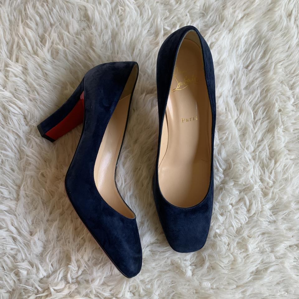 on sale aaeea 54f87 Navy Viva Suede Block Pumps