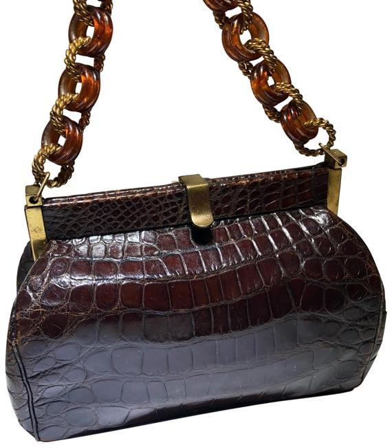 Item - Lucite Chain Handle Purse Brown Leather Satchel