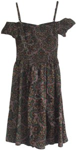 Band of Gypsies short dress Multi-Color Paisley Print Straps/Cold Shoulder Sweetheart Neck Flutter Sleeves Full Skirt on Tradesy