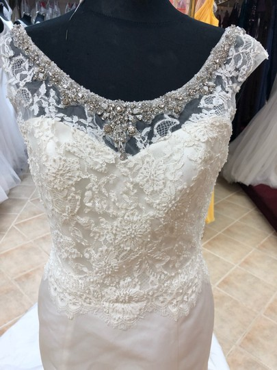 Anjolique Ivory Satin Lace Gown Fit and Flare Destination Wedding Dress Size 6 (S) Image 1