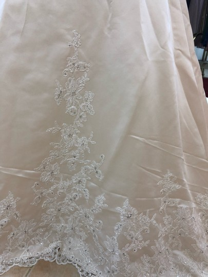 Anjolique Champagne. Ivory. Satin. Lace. A-line Gown Formal Wedding Dress Size 6 (S) Image 2