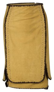 Saint Laurent Suede Contrast Leather Silk Skirt Yellow