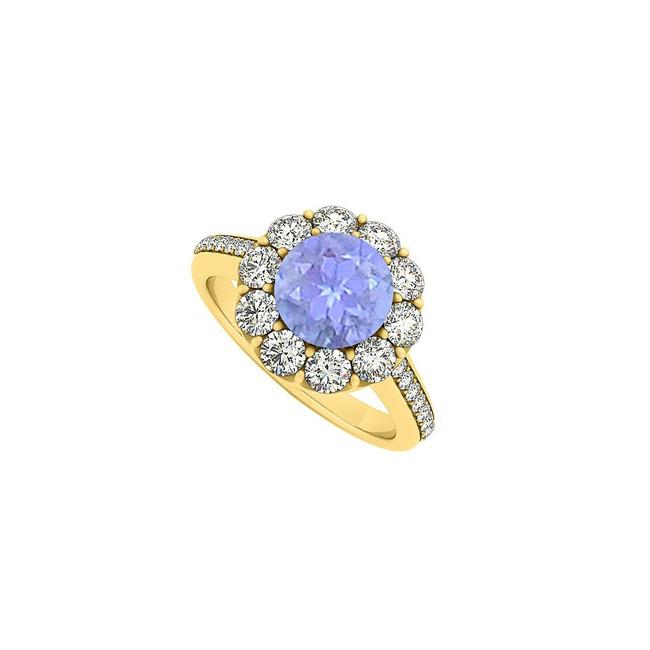 Blue 14k Yellow Gold December Birthstone Tanzanite and Cubic Zirconia Halo Ring Blue 14k Yellow Gold December Birthstone Tanzanite and Cubic Zirconia Halo Ring Image 1