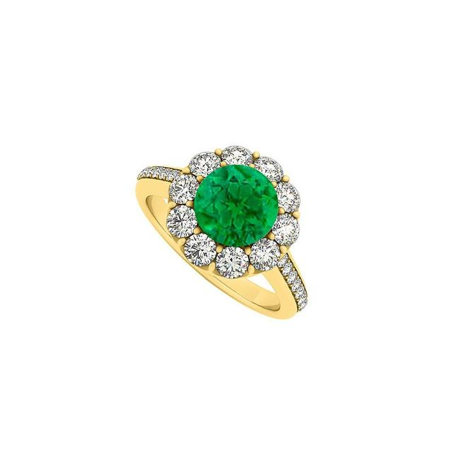 Green 14k Yellow Gold May Birthstone Emerald and Cubic Zirconia Halo Ring Green 14k Yellow Gold May Birthstone Emerald and Cubic Zirconia Halo Ring Image 1