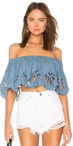 Beach Riot Revolve Chambray Off Shoulder Eyelet Top Blue