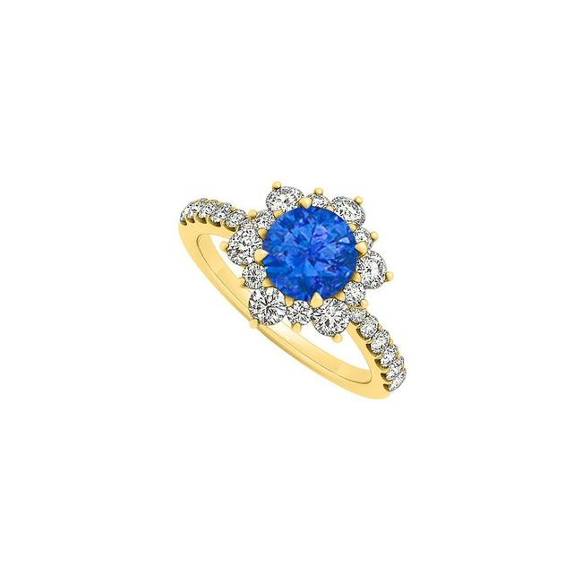 Blue September Birthstone Sapphire and Cubic Zirconia Floral Engagement Ring Blue September Birthstone Sapphire and Cubic Zirconia Floral Engagement Ring Image 1