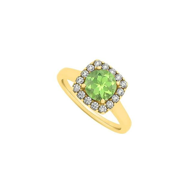 Green Peridot and Cubic Zirconia Square Shape Fashion Halo Engagement Ring Green Peridot and Cubic Zirconia Square Shape Fashion Halo Engagement Ring Image 1