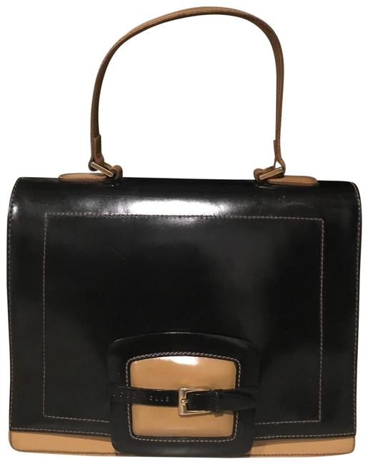 Coccinelle Black and Tan Leather Velour Lining Satchel Coccinelle Black and Tan Leather Velour Lining Satchel Image 1