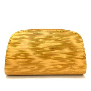 Louis Vuitton Louis Vuitton Epi Douphine Yellow Leather Cosmetic Pouch Bag/o830