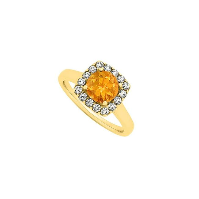 Yellow Citrine and Cubic Zirconia Square Shape Halo Engagement Ring Yellow Citrine and Cubic Zirconia Square Shape Halo Engagement Ring Image 1