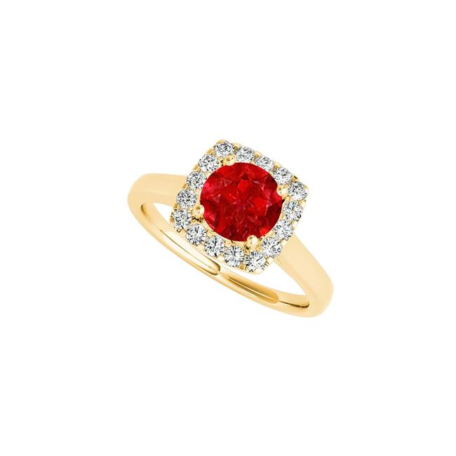 Red Halo with Ruby Cz In 14k Yellow Gold 1.50 Ct Tgw Ring Red Halo with Ruby Cz In 14k Yellow Gold 1.50 Ct Tgw Ring Image 1
