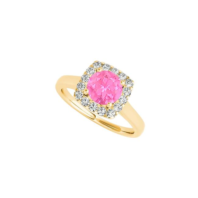 White Pink Sapphire and Cz Halo In 14k Yellow Gold Ring White Pink Sapphire and Cz Halo In 14k Yellow Gold Ring Image 1