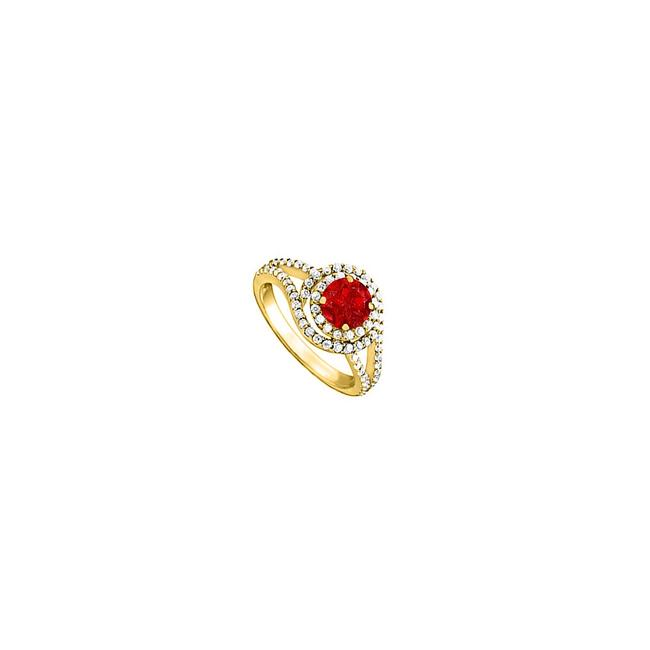 Red Ruby Cz Split Shank Swirl Engagement Yellow Gold Ring Red Ruby Cz Split Shank Swirl Engagement Yellow Gold Ring Image 1