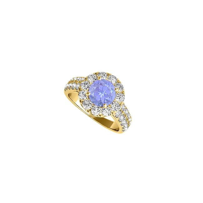 Blue 2 Carat Tanzanite and Czs Halo In 14k Yellow Gold Ring Blue 2 Carat Tanzanite and Czs Halo In 14k Yellow Gold Ring Image 1