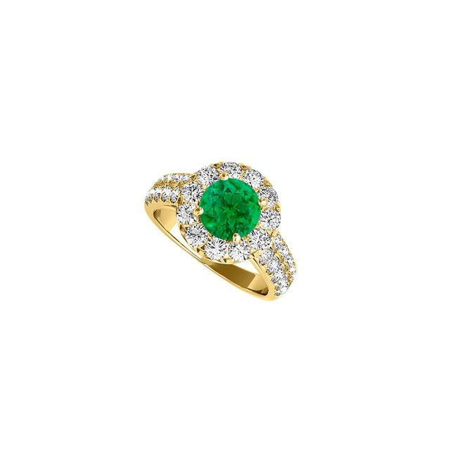 Green Broad Czs Haloing Central Emerald On 14k Gold Ring Green Broad Czs Haloing Central Emerald On 14k Gold Ring Image 1