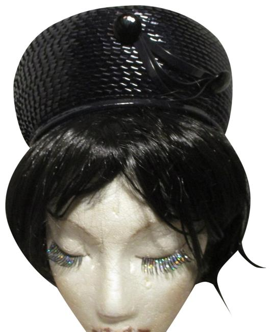 Navy Vintage Woven Pill Box Hat Navy Vintage Woven Pill Box Hat Image 1
