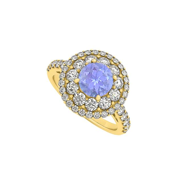 Blue Tanzanite and Cz Double Halo Engagement 14k Gold Ring Blue Tanzanite and Cz Double Halo Engagement 14k Gold Ring Image 1