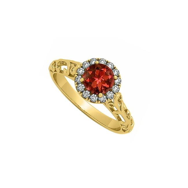 Red Garnet and Cz Halo Engagement Filigree Design In 14k Yellow Gold Ring Red Garnet and Cz Halo Engagement Filigree Design In 14k Yellow Gold Ring Image 1